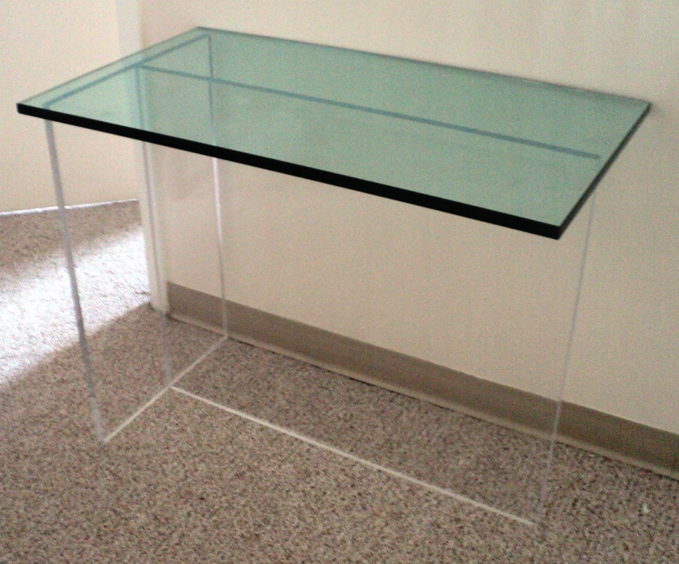 Picture. SALE!!! Minimalist Lucite U0026 Glass Console Table/Bar.