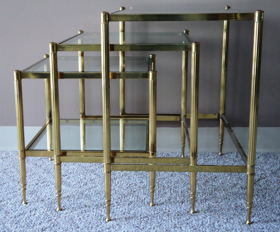 Picture. SOLD Nest Of Three Brass Tables With Glass ...