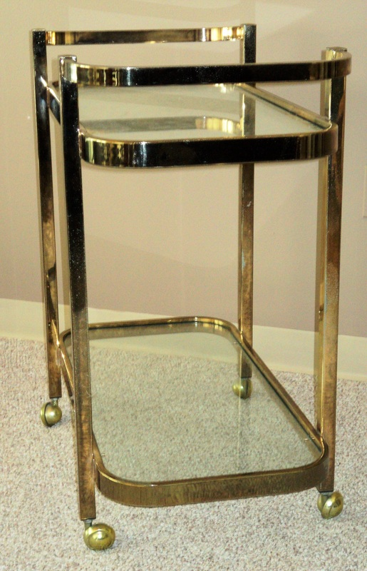 milo baughman laminated brass cart
