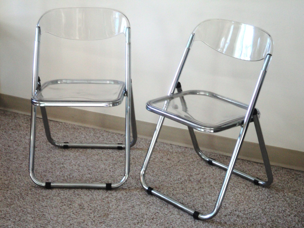Pair Of Italian Chrome Amp Lucite Folding Chairs