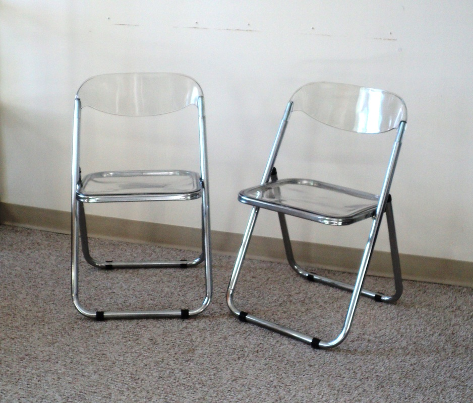 Pair of Italian Chrome & Lucite Folding Chairs Julesmoderne