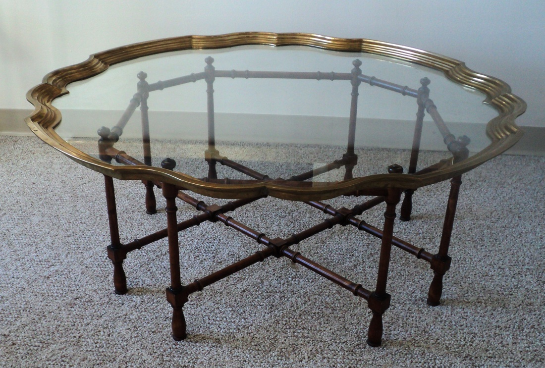 Hollywood Regency Brass Amp Glass Tray Coffee Table