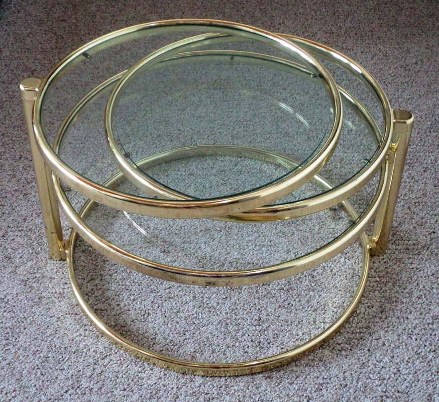 Pivoting Brass Amp Glass Coffee Table Julesmoderne Com