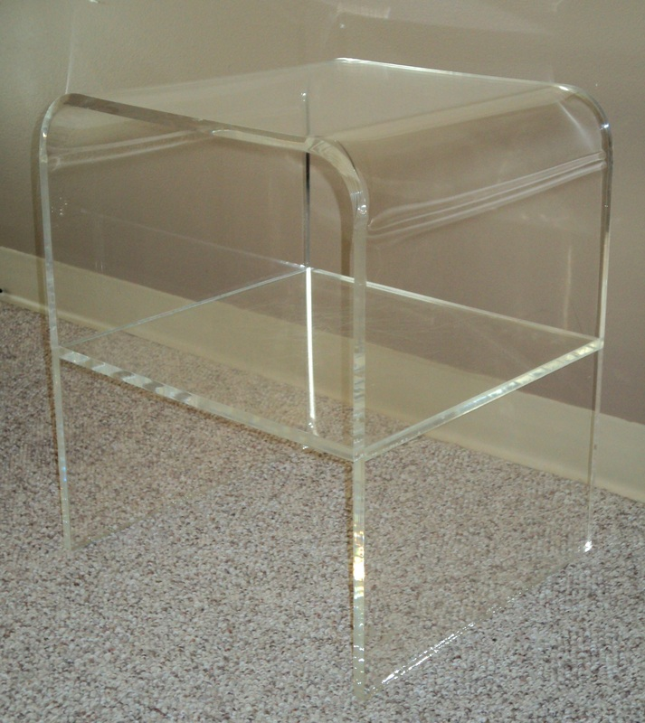 Awesome 1970s Two Tiered Thick Lucite Waterfall End/Telephone Table. USA