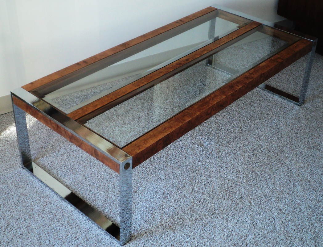 Large Scale Sleek Chrome Burl Beveled Glass Coffee Table 1970s Usa Attributed To Milo Baughman
