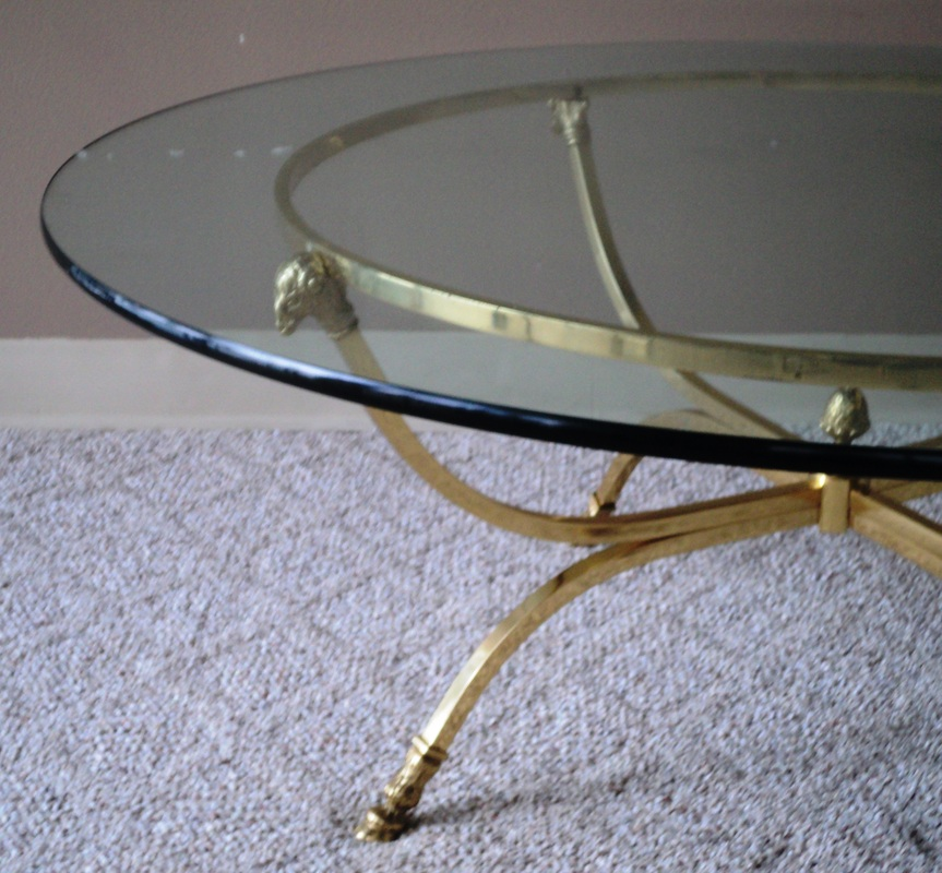 Sold Classic Round Brass Coffee Table Base With Ram Crowns And Hoofed Feet In The Style Of Maison Jansen 1970s