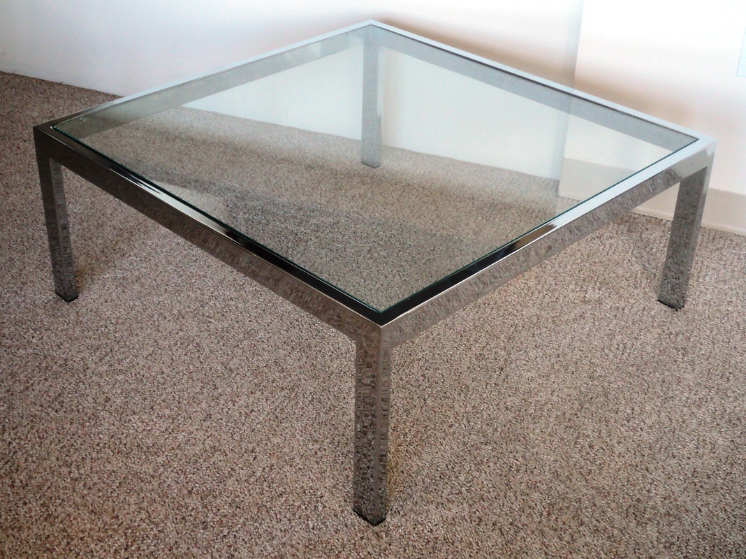 Table Leg Caps Square Mid Century Modern Chrome & Glass Coffee Table - Julesmoderne.com