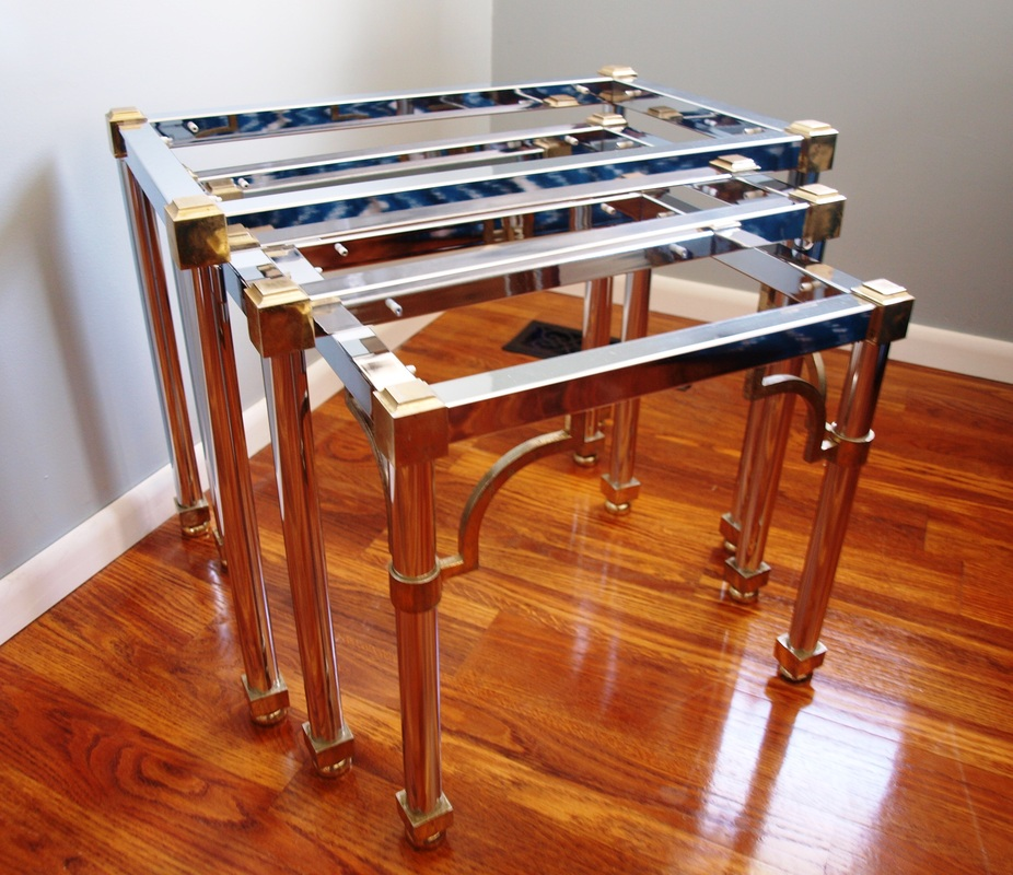 Hollywood Regency Chinoiserie Style Nest Of Three Tables In Chrome, Brass U0026  Glass 1970s/Attributed To Maison Jansen.