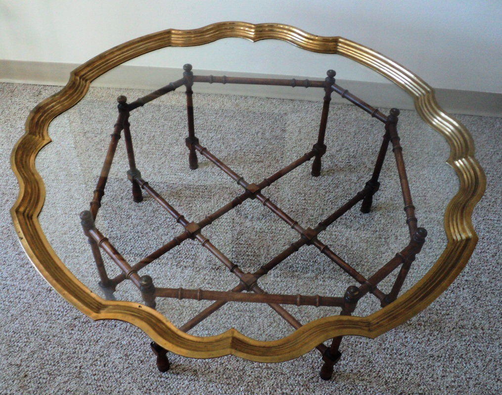 hollywood regency brass & glass tray coffee table - julesmoderne